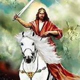 KING ARTHUR TYPE ON A WHITE HORSE WITH SWORD